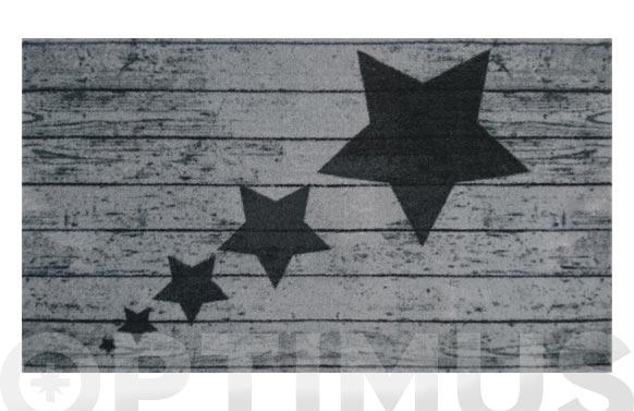 Felpudo poliamida estrellas negras 40 x 70 cm