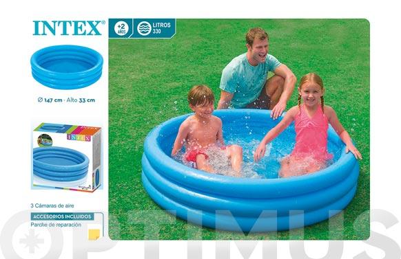 Piscina infantil 3 aros azul 288 litros 147 x 33 cm