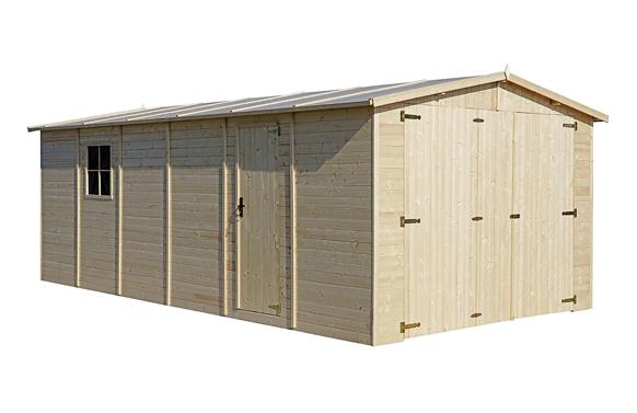 Garaje de madera 18 m2 mikhail medidas 600 x 300 x 222/192 cm
