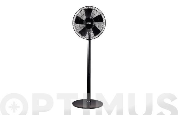 Ventilador pie negro 55w 40cm edm 3 niveles de pot oscilante altura regulable 47,5x13,5x66mm