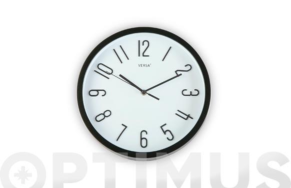 Reloj pared redondo ø30 cm - negro