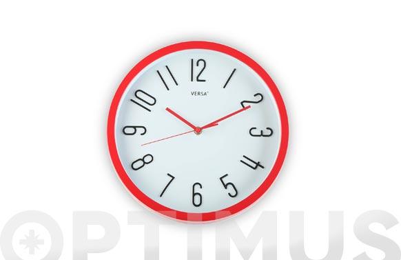 Reloj pared redondo ø30 cm - rojo