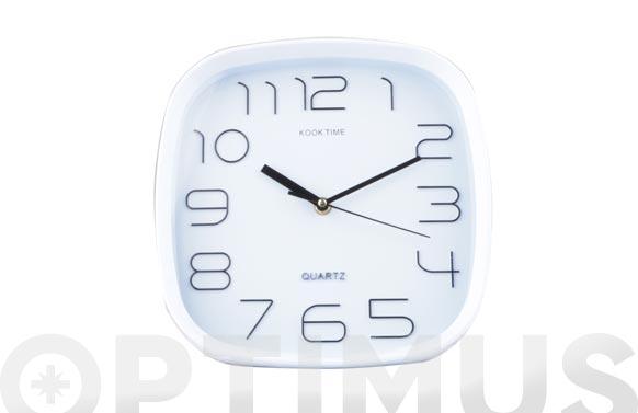 Reloj pared cuadrado 30 cm - blanco