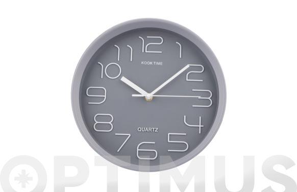 Reloj pared redondo ø30 cm - gris