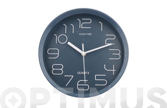 Reloj pared redondo ø30 cm - azul tejano