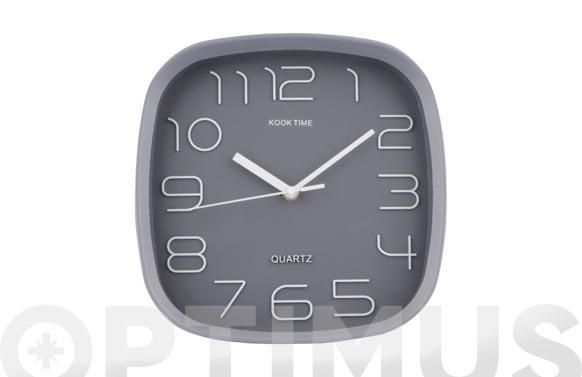 Reloj pared cuadrado 30 cm - gris
