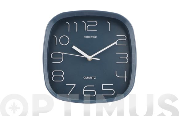 Reloj pared cuadrado 30 cm - azul tejano