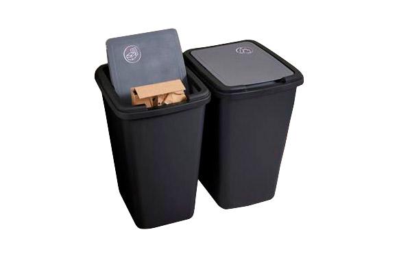 Cubo plastico green bin reciclado 50 l - negro antracita