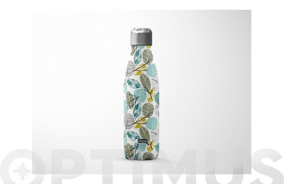Botella termo inox 500 ml - hojas