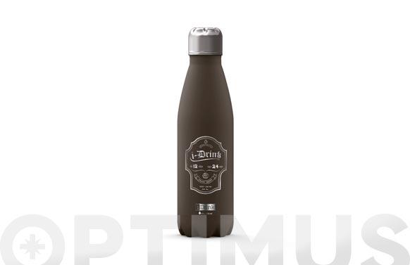 Botella termo inox 500 ml - gris etiqueta
