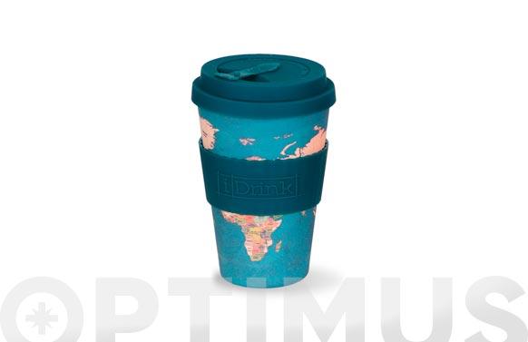 Mug bambu con tapa 43,5 cl - mapa azul