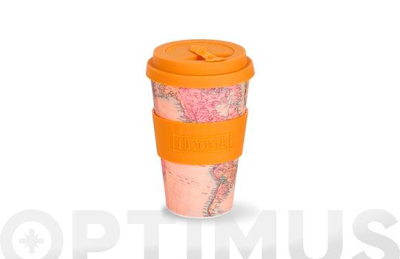 Mug bambu con tapa 43,5 cl - mapa crema
