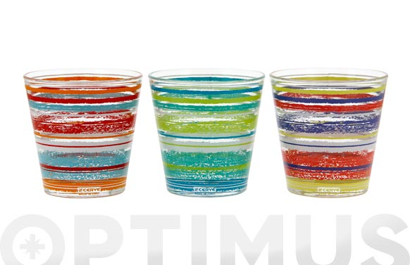 Vaso agua decorado (caja 6u) 25 cl - rayas surtidas