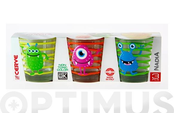 Vaso agua decorado pack 3u 25 cl - monster surtido