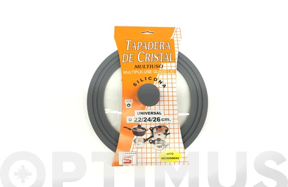Tapa universal cristal y silicona 22/24/26 cms