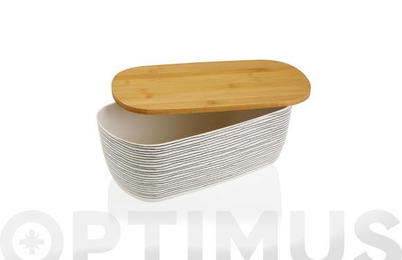 Panera acrilica tapa bambu black line - 34,5 x 13,5 x 20 cm