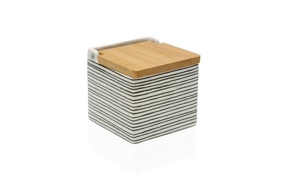 Salero ceramica tapa bambu black line - 11 x 11 cm