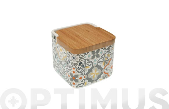 Salero ceramica tapa bambu alfama - 11,7 x 11,2 cm