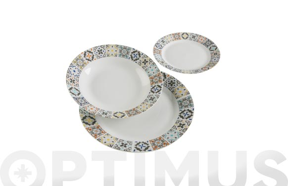 Vajilla porcelana 18 piezas alfama zuleiq