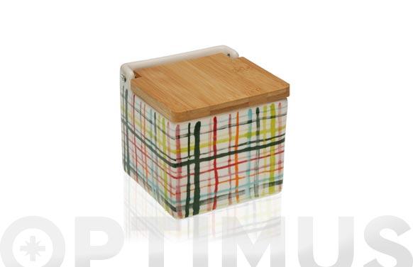 Salero ceramico tapa bambu bands - 11 x 11 cm