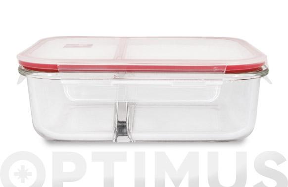 Contenedor vidrio rectangular dividido 1360 ml