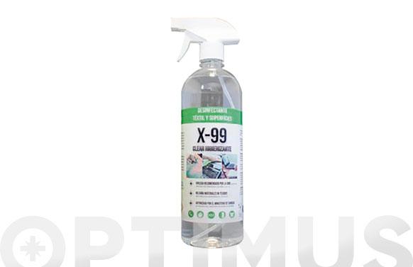 Limpiador hidroalcoholico x-99 clear higienizante 1 l con pulverizador