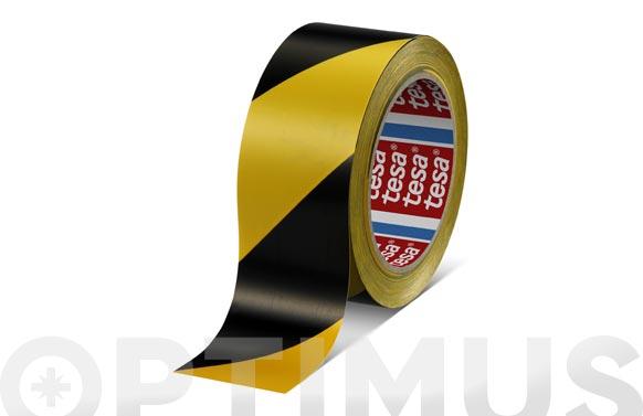 Cinta adhesiva señalizacion temporal 33 m x 50 mm negra/amarilla