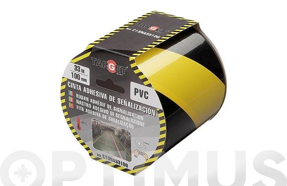 Cinta adhesiva señalizacion 33 m x 100 mm amarilla/negra