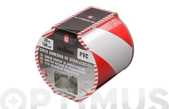 Cinta adhesiva señalizacion 33 m x 100 mm blanca/roja