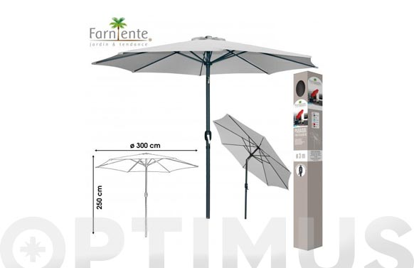 Parasol aluminio inclinable gris claro 300 cm tubo 48 mm con manivela