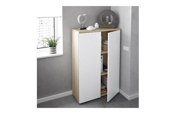 Estanteria oficina 2 puertas blanco/roble 119 x 80 x 33 cm