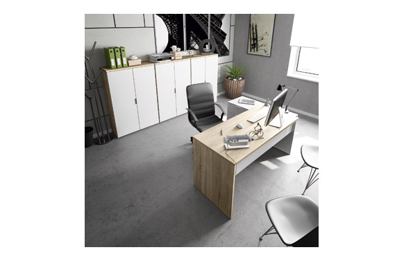 Mesa escritorio c/cajonera reversible blanco/robl 145 x 108 x 73 cm