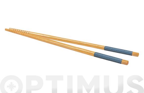 Palillos madera natural set 6 pares