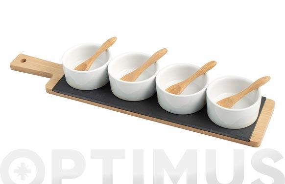 Set aperitivo pizarra bambu rectangular 40x9cm bols blancos