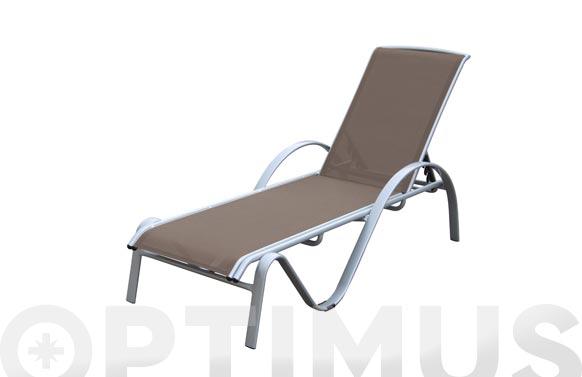 Tumbona aluminio plata + textilene art-4230 taupe