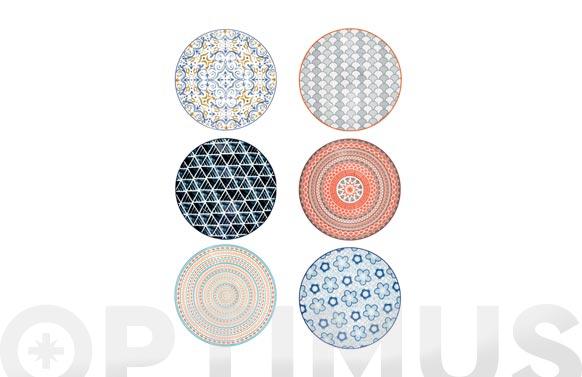 Plato porcelana coupe decorado llano-27 cm surtido