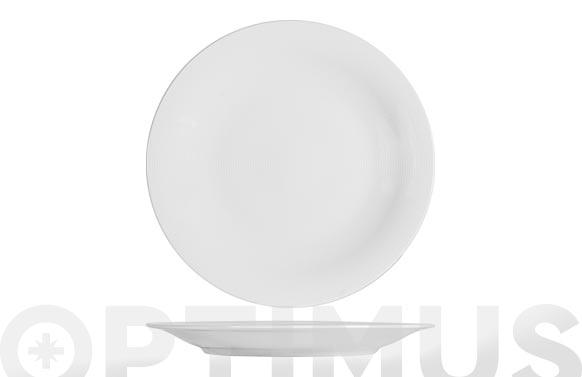 Plato porcelana grabado blanco llano-27 cm