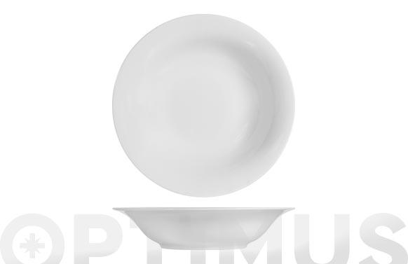 Plato porcelana grabado blanco hondo-23 cm