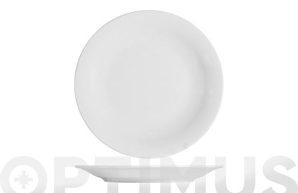 Plato porcelana grabado blanco postre-21 cm