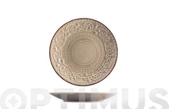 Plato stoneware courtyard tortora postre - 21 cm