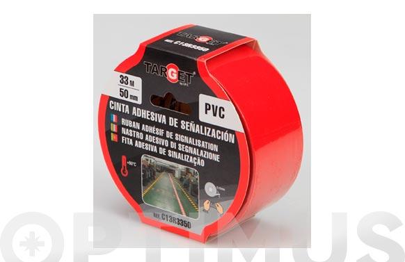 Cinta adhesiva señalizacion 33 m x 50 mm roja