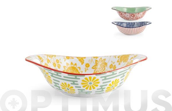 Fuente porcelana ovalada full decorado 15 x 22 cm - surtido