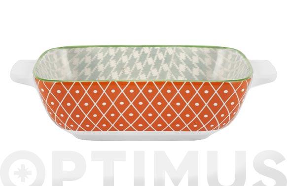 Fuente porcelana cuadrada full decorado 15 x 15 cm