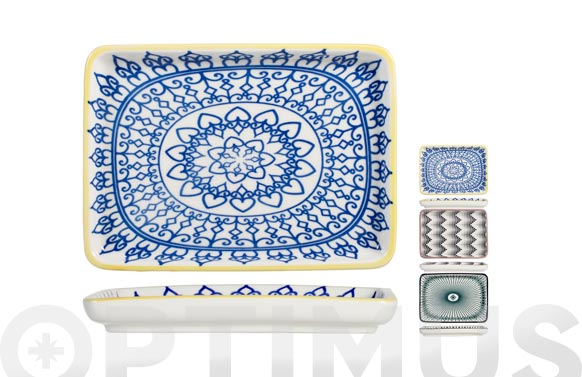 Plato porcelana rectangular full decorado 15 x 20,5 cm - surtido