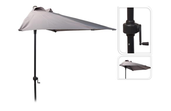 Parasol balcon c/manivela 250 cm tubo 32 mm gris