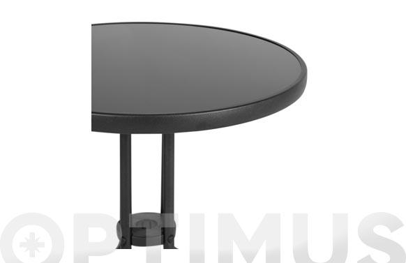 Mesa acero cristal negro 60 cm