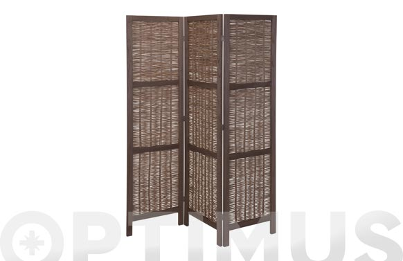 Biombo de madera 3 paneles mimbre oscuro