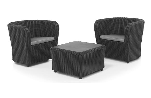 Conjunto ratan resina 2 sillones+mesa set nova tete a tete grafito