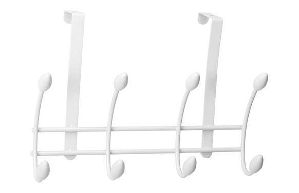 Colgador sobrepuerta 4 ganchos doble blanco