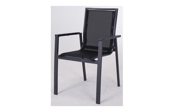 Sillon aluminio textilene negro